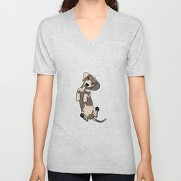 Happy dachshund illustration Unisex V-Neck
