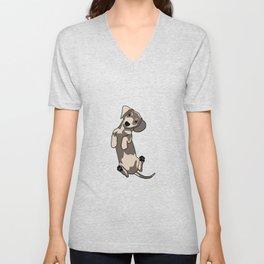 Happy dachshund illustration Unisex V-Neck