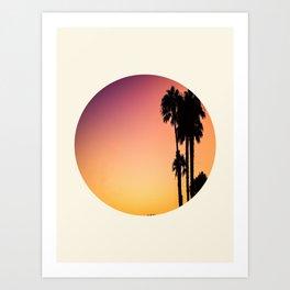 Palm Tree Silhouette & Orange Purple Sunset Art Print