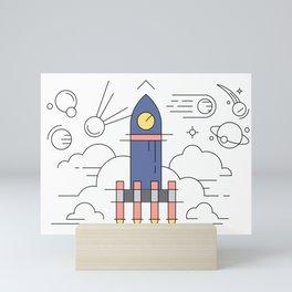 Rocket Ship Launch Mini Art Print