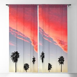 Red Scarlet Sunset Over Palm Trees Blackout Curtain