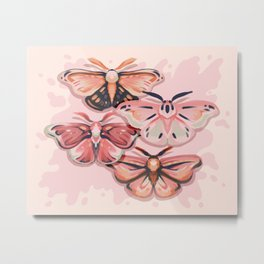 Pink Moths Metal Print