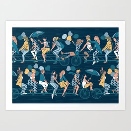 Sisterly riding the world together Art Print