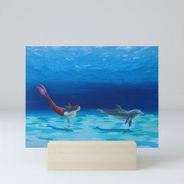 Mermaid and Dolphin - No. 1 Mini Art Print