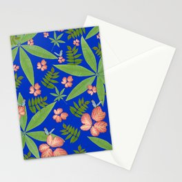 Leaves on Blue Stationery Cards