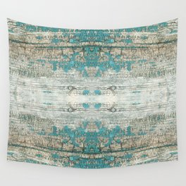 Rustic Wood Turquoise Weathered Paint Wood Grain Wall Tapestry