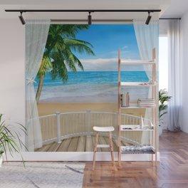 Balcony with a Beach Ocean View Wall Mural
