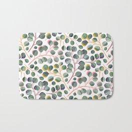 Simple Silver Dollar Eucalyptus Leaves Bath Mat
