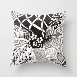 Black and White  -Pen & Ink Throw Pillow