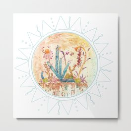 Cactus and Sun Art Illustration Metal Print