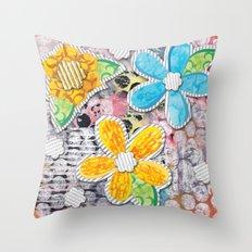 Paper Flower Power Throw Pillow