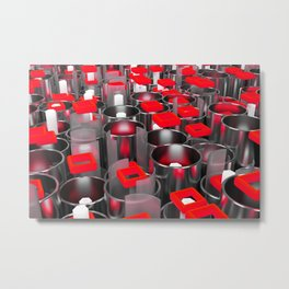 Metal tubes, hexagons and glass Metal Print