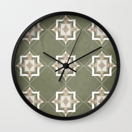 Sage Green and Taupe Mosaic Pattern Wall Clock