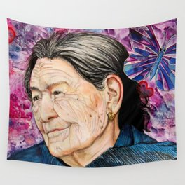 Woman and Butterfly Wall Tapestry