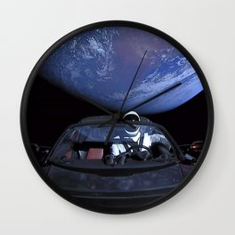 SpaceX Tesla Car in Space Earth Above Starman Speeds to Mars Wall Clock