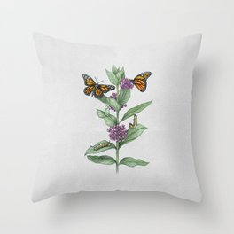 Monarch Butterfly Life Cycle Throw Pillow