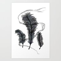 Feathers Smoke Art Print