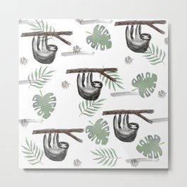 Sloth in Foliage Metal Print