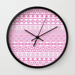 Aztec Influence Pattern Pink on White Wall Clock