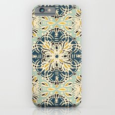 Protea Pattern in Deep Teal, Cream, Sage Green & Yellow Ochre  Slim Case iPhone 6