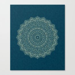 Rose Gold Marble Mandala Turquoise Textured Canvas Print