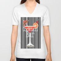 bar V-neck T-shirts featuring Cocktail Bar by Sartoris ART