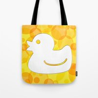 toilet Tote Bags featuring Toilet - duck by Raquel Basso