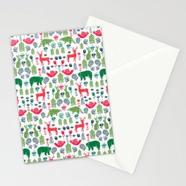 Christmas woodland scandinavian folk animals forest nature pattern gifts Stationery Cards