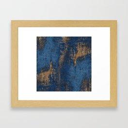 NAVY BLUE AND GOLD PATTERN Framed Art Print