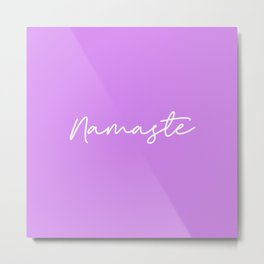 Namaste - Purple and white Metal Print