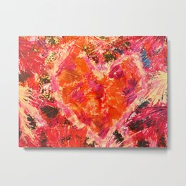 MEND ME - Broken Heart Abstract Artwork Bright Bold Crimson Red Magenta Black Leopard Print Metal Print