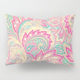 Pink Turquoise Girly Chic Floral Paisley Pattern Pillow Sham
