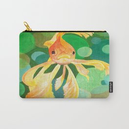 Vermilion Goldfish Swimming In Green Sea of Bubbles Carry-All Pouch