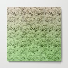 Chartreuse Green Ombre Book Flowers Metal Print
