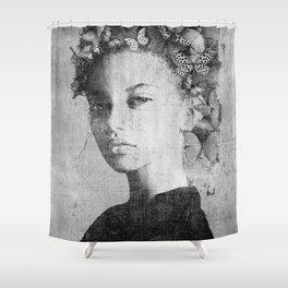PORTRAIT (Woman with butterflies) Shower Curtain
