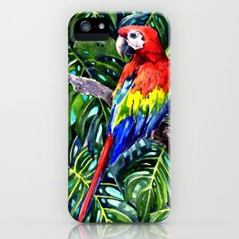 Scarlet Macaw in Rainforest iPhone Case