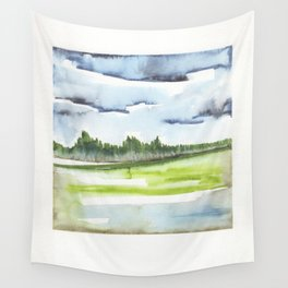 In the Mountains: moody, painterly watercolor landscape Wall Tapestry