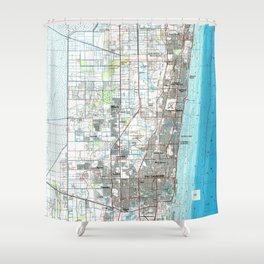 Fort Lauderdale Florida Map (1985) Shower Curtain