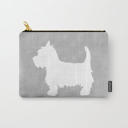 Westie Silhouette On Grey Carry-All Pouch