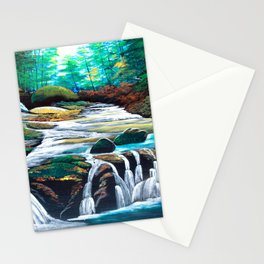 Mountain stream scenery of autumnal leaves Stationery Cards