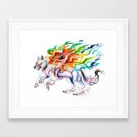 okami Framed Art Prints featuring Okami Wolf by Katy Lipscomb
