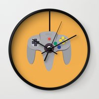 nintendo Wall Clocks featuring Nintendo 64 by labrownie