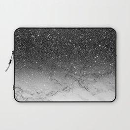 Stylish faux black glitter ombre white marble pattern Laptop Sleeve