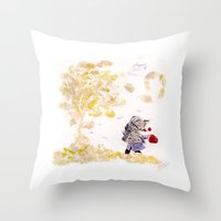wind Throw Pillows featuring Wind by MARIA BOZINA - PRINT