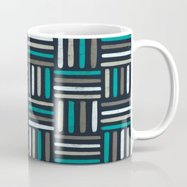 Linear Weave // Basket weave linear design in pastel colours, green, brown, white, black Coffee Mug