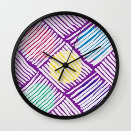 Purple Pattern with White Lines and Colors Circles Wall Clock