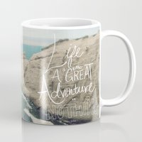 typo Mugs featuring Great Adventure by Leah Flores