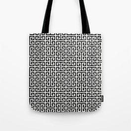 Black and White Greek Key Pattern Tote Bag