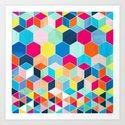 Super Bright Color Fun Hexagon Pattern by micklyn