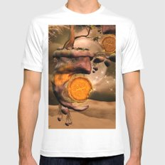 Fantasy world with flying rocks with clocks Mens Fitted Tee White MEDIUM